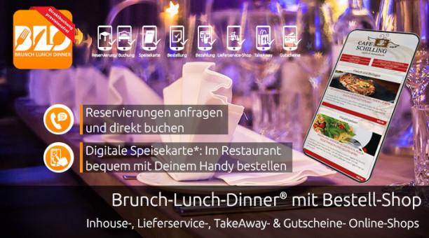 Digitale Speisekarte - Inhouse - Essen Bestellen am Tisch im Restaurant mit QR-Code - Reservierungsbuch - jetzt mit Brunch-Lunch-Dinner!